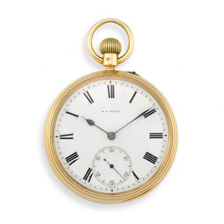18ct gold open face keyless lever pocket watch, Baume & Co, AB, London 1902