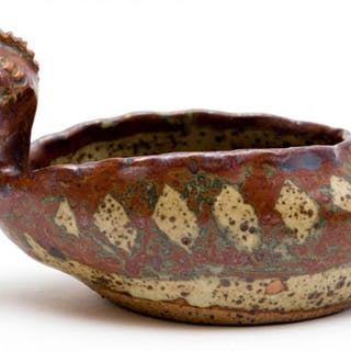 A Rorke's Drift stoneware bird-shaped bowl