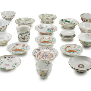 A miscellaneous group of Chinese famille-rose bowls, saucers and pedestal