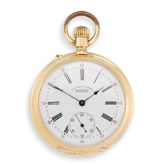 18ct gold open face keyless lever pocket watch, A. Lange & Söhne