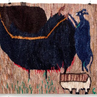 A Rorke's Drift tapestry, titled 'A Jackal and Old Lady in the Pot'