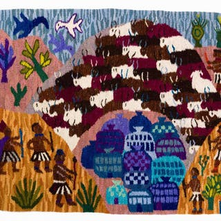 A Rorke's Drift tapestry, titled 'A Herd of Cattle'