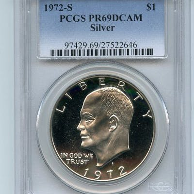 1972 S $1 Silver Ike Eisenhower Dollar Proof PCGS PR69DCAM coin