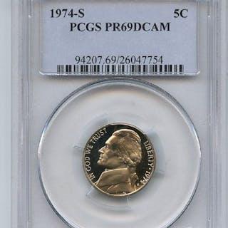 1974 S 5C Jefferson Nickel Proof PCGS PR69DCAM coin