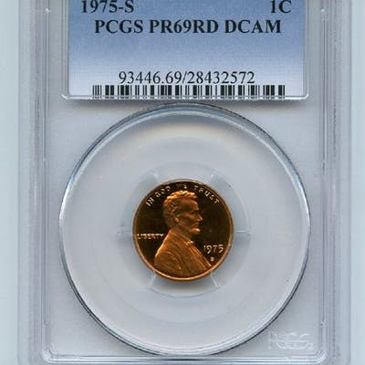 1975 S 1C Lincoln Cent Proof PCGS PR69DCAM coin