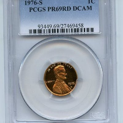 1976 S 1C Lincoln Cent Proof PCGS PR69DCAM coin