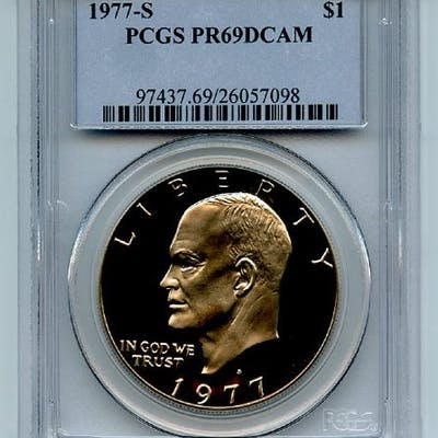 1977 S $1 Ike Eisenhower Dollar Proof PCGS PR69DCAM coin