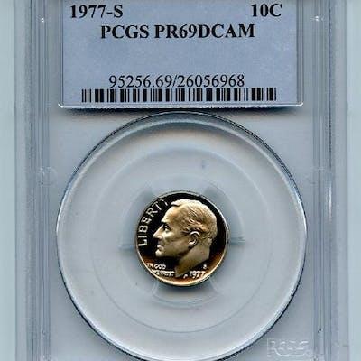 1977 S 10C Roosevelt Dime Proof PCGS PR69DCAM coin