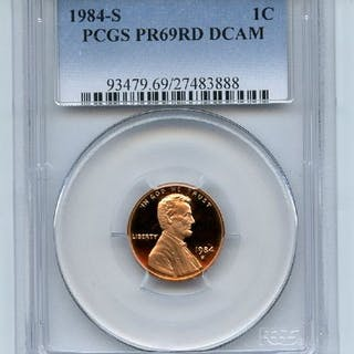 1984 S 1C Lincoln Cent Proof PCGS PR69DCAM coin