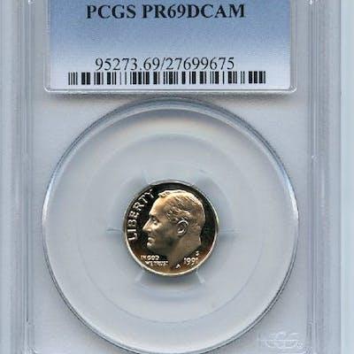 1991 S 10C Roosevelt Dime Proof PCGS PR69DCAM coin