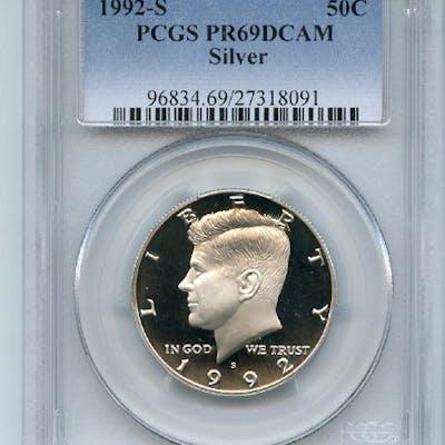 1992 S 50C Silver Kennedy Half Dollar Proof PCGS PR69DCAM coin
