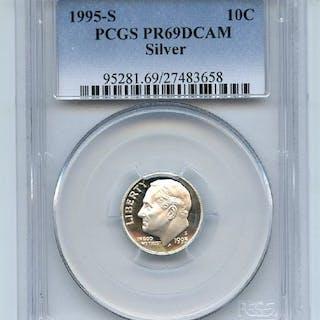 1995 S 10C Silver Roosevelt Dime Proof PCGS PR69DCAM coin