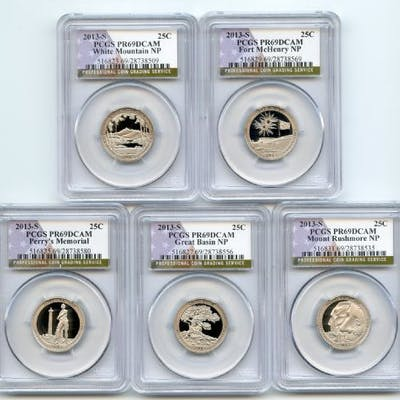 2013 S Clad National Parks Quarter Set PCGS PR69DCAM coin