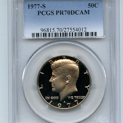 1977 S 50C Kennedy Half Dollar Proof PCGS PR70DCAM coin