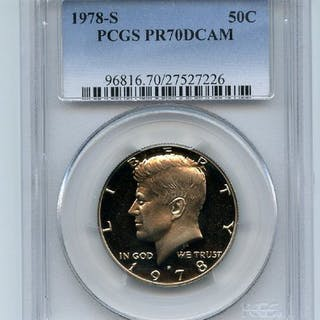 1978 S 50C Kennedy Half Dollar Proof PCGS PR70DCAM coin