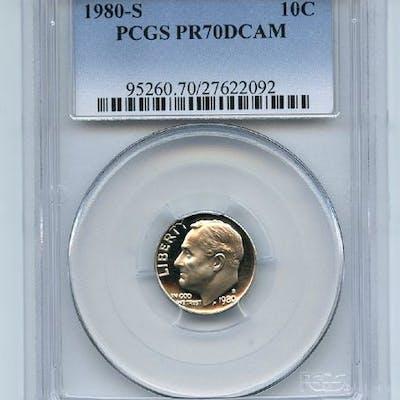 1980 S 10C Roosevelt Dime Proof PCGS PR70DCAM coin