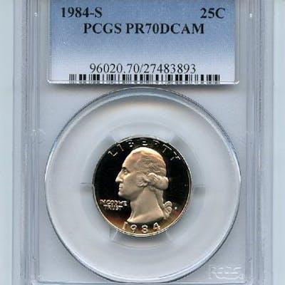 1984 S 25C Washington Quarter Proof PCGS PR70DCAM coin