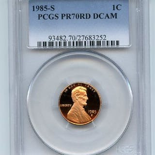 1985 S 1C Lincoln Cent Proof PCGS PR70DCAM coin