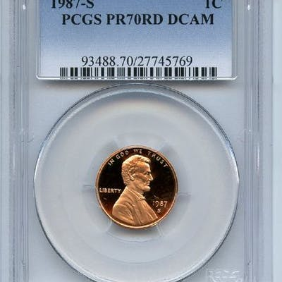 1987 S 1C Lincoln Cent Proof PCGS PR70DCAM coin