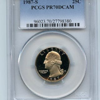 1987 S 25C Washington Quarter Proof PCGS PR70DCAM