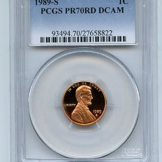 1989 S 1C Lincoln Cent Proof PCGS PR70DCAM coin