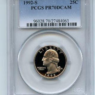 1992 S 25C Washington Quarter Proof PCGS PR70DCAM