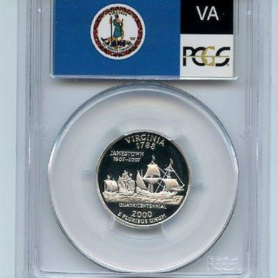2000 S 25C Silver Virginia Quarter PCGS PR70DCAM coin