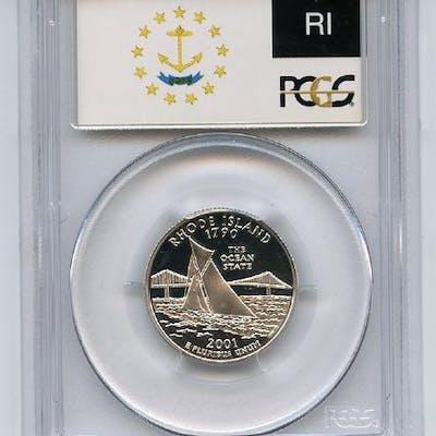 2001 S 25C Silver Rhode Island Quarter PCGS PR70DCAM coin