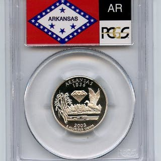 2003 S 25C Silver Arkansas Quarter PCGS PR70DCAM coin