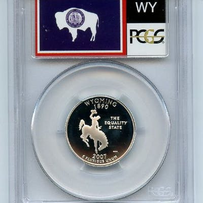 2007 S 25C Silver Wyoming Quarter PCGS PR70DCAM coin
