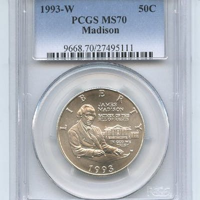 1993 W 50C Bill of Rights Madison Commemorative PCGS MS70 coin