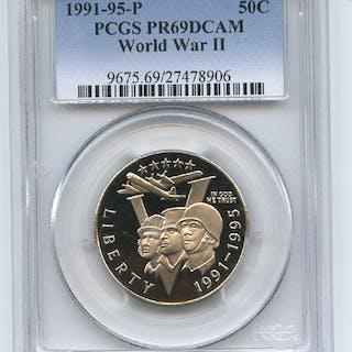 1993 P 50C World War 2 WWII Commemorative PCGS PR69DCAM coin