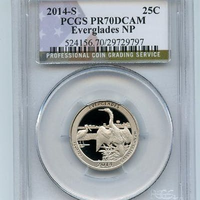 2014 S 25C Clad Everglades Quarter PCGS PR70DCAM coin
