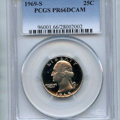 1969 S 25C Washington Quarter PCGS PR66DCAM coin