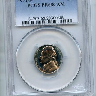 1971 S 5C Jefferson Nickel PCGS PR68CAM