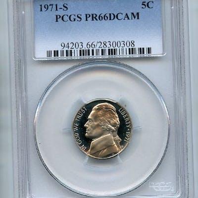 1971 S 5C Jefferson Nickel PCGS PR66DCAM coin