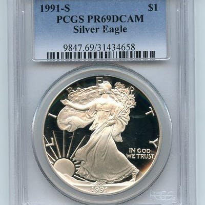 1991 S $1 Proof American Silver Eagle 1oz PCGS PR69DCAM coin