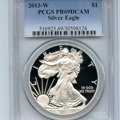 2013 W $1 Proof American Silver Eagle 1oz PCGS PR69DCAM coin