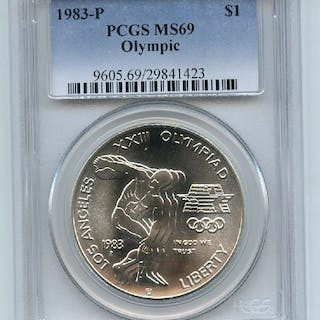 1983 P $1 Olympic Silver Commemorative Dollar PCGS MS69 coin