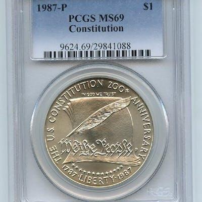 1987 P $1 Constitution Silver Commemorative Dollar PCGS MS69 coin