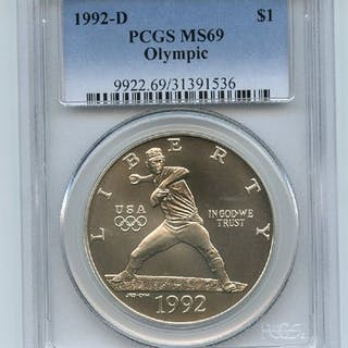 1992 D $1 Olympic Silver Commemorative Dollar PCGS MS69 coin