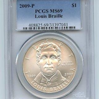 2009 P $1 Louis Braille Silver Commemorative Dollar PCGS MS69