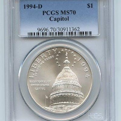 1994 D $1 Capitol Silver Commemorative Dollar PCGS MS70 coin