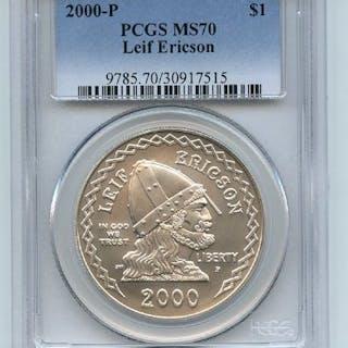 2000 P $1 Leif Ericson Silver Commemorative Dollar PCGS MS70