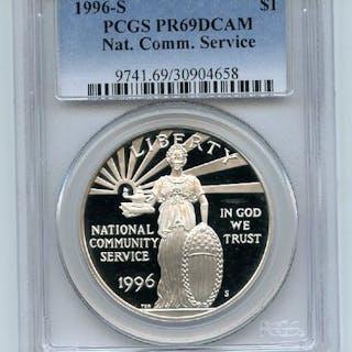 1996 S $1 Community Service Silver Commemorative Dollar PCGS PR69DCAM coin