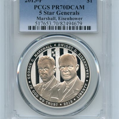 2013 P $1 5 Star Generals Eisenhower Marshall Silver Commem Dollar