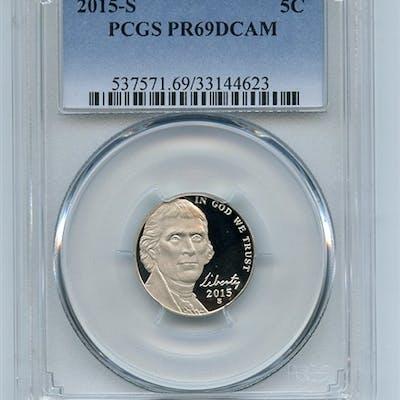 2015 S 5C Jefferson Nickel PCGS PR69DCAM coin