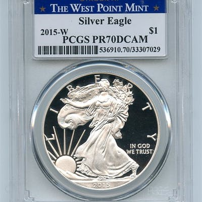 2015 W $1 American Proof Silver Eagle Dollar PCGS PR70DCAM West Point coin