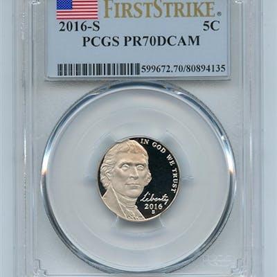 2016 S 5C Jefferson Nickel PCGS PR70DCAM First Strike coin