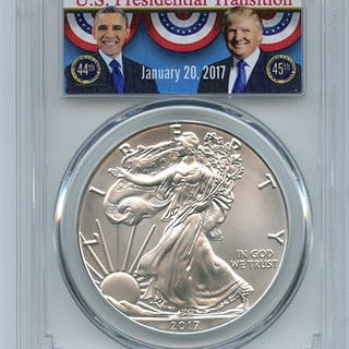 2017 $1 American Silver Eagle PCGS MS70 First Strike Obama/Trump Transition